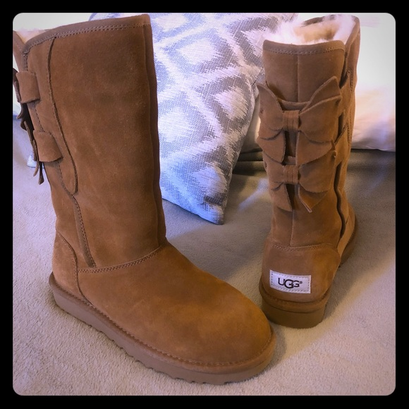 "4f375d763e9 NWT Ugg ""Allegra"" bow chestnut tall boots - uggs NWT"